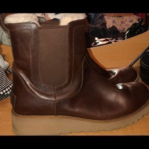 Ugg Brown Leather Ankle Boot, 9